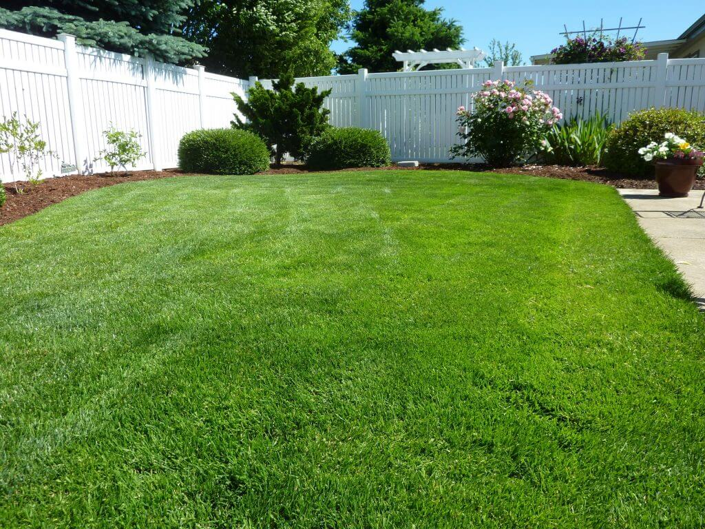 Artificial Grass Benefits: Image of a large garden with an artificial lawn, white fencing and planted borders. #]