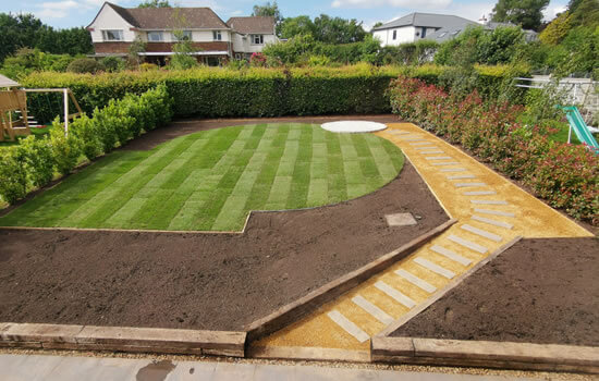 Landscaping Services: A newly landscaped garden with paving and turf.
