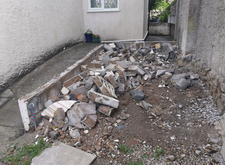 site clearance - rubble from landscaping work - Jackson garden Services