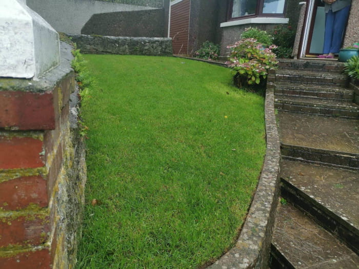 Lawn Care: Image of a mowed and well maintained garden lawn.